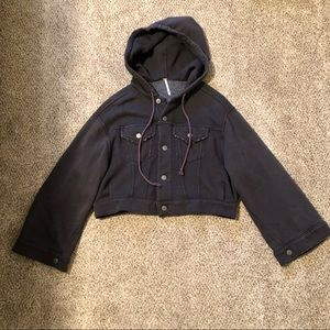 Free People Black-Gray Cropped Hoodie Size XS